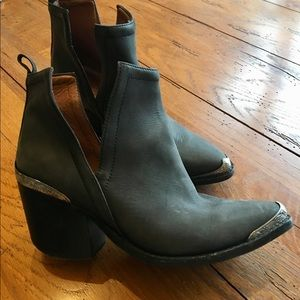 Jeffrey Campbell side slit gray boots